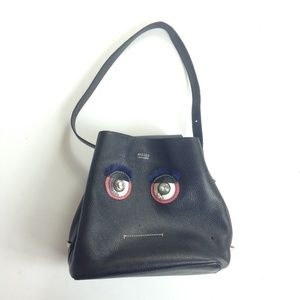 Arezzo Italy Eyes Eyelash Bag Black Leather RARE
